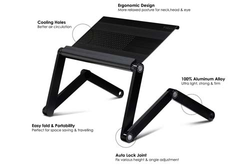 Furinno Adjustable Vented Laptop Table Laptop Computer Desk Portable Bed