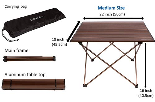 ortable Camping Table with Aluminum Table Top