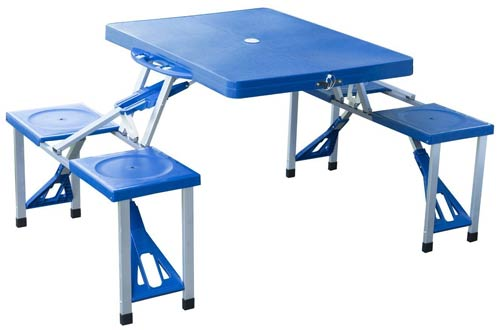 Outsunny Portable Folding Outdoor Camp Suitcase Picnic Table