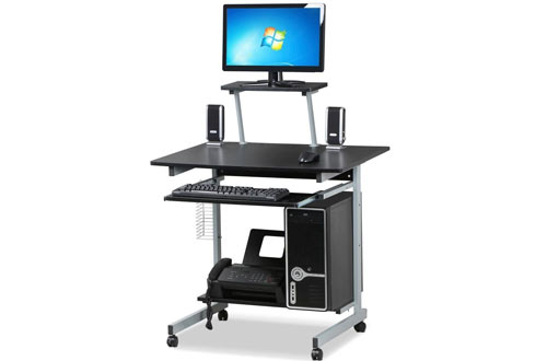 Topeakmart Home Office Mobile Computer Cart Desk with Keyboard Tray and Storage Shelves