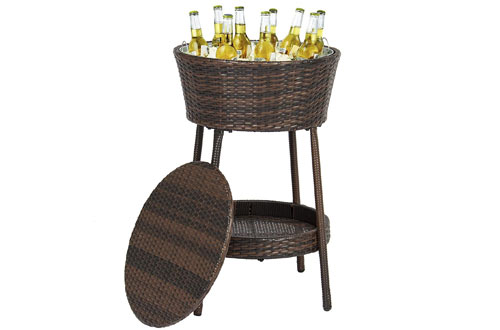 Wicker Ice Bucket Outdoor Patio Furniture All-Weather Beverage Cooler with Tray