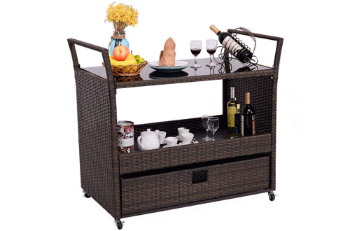 Rolling Portable Rattan Wicker Kitchen Trolley Cart Dining Restaurant