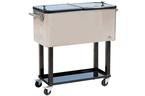 Portable Patio Party Drink Cooler Cart