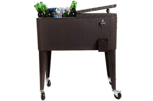 HIO 80 Qt Outdoor Patio Cooler Table On Wheels