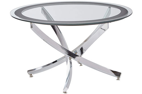 Contemporary Glass Top Chrome Coffee Table with Tempered Glass Top