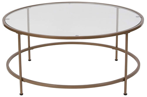 Astoria Collection Round Glass Coffee Table