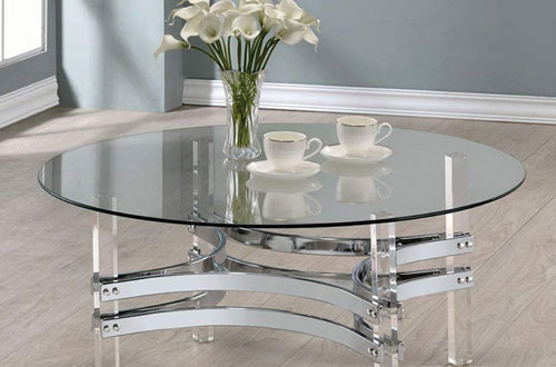 Coaster 720708-CO Round Glass Top Coffee Table