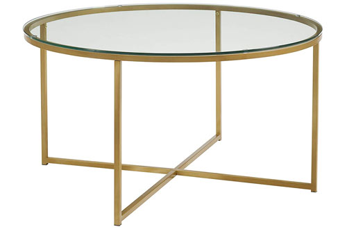 Coffee Table with X-Base - Glass/Gold