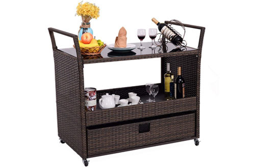 Rattan Wicker Kitchen Trolley Cart