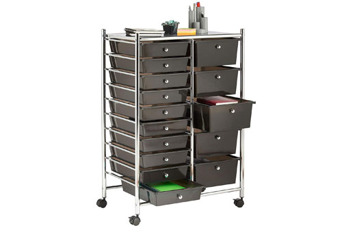 VonHaus Black 15 Drawer Organizer Cart