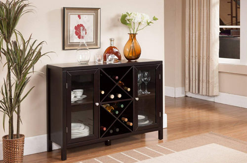 Kings Brand Furniture Wood Wine Rack Table with Storage