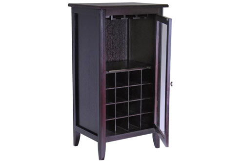 Winsome Wood Wine Cabinet with Glass Door