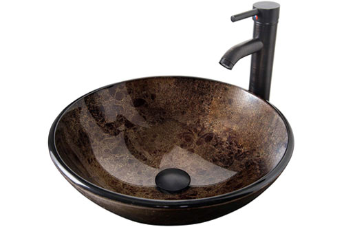 ELECWISH Bathroom Vessel Sink with Faucet Mounting Ring