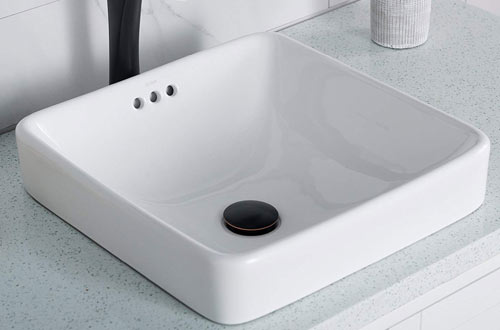Kraus KCR-281 Modern Elavo Ceramic Square Semi-Recessed Bathroom Sink