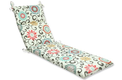 Pillow Perfect Outdoor Pom Pom Play Peachtini Chaise Lounge Cushion