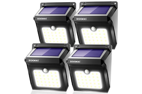Solar Motion Sensor Lights Outdoor, ZOOKKI 28 LEDs Waterproof Solar Powered Wall Lights
