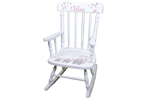 Personalized Childrens Elephant Pink Rocking Chair
