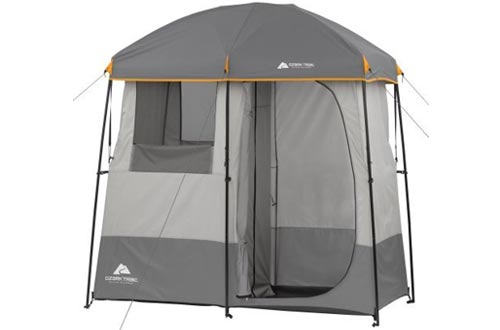 Non-Instant Shower Tent with 5-Gallon Solar Heated Shower and Removable Rainfly