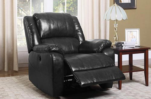 Divano Roma Furniture Plush Bonded Leather Power Electric Recliner Living Room Chair