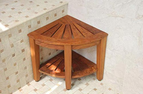 Corner Teak Shower Bench with Shelf