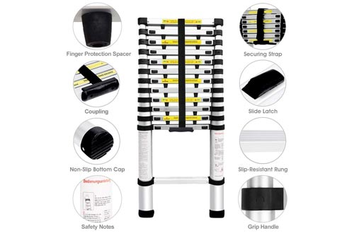 Finether 16.4ft Aluminum Telescopic Extension Ladder