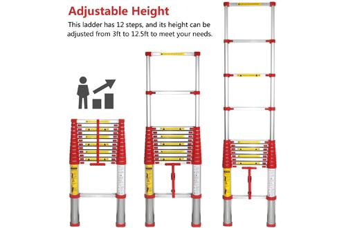 WolfWise EN131 12.5ft Telescoping Ladder