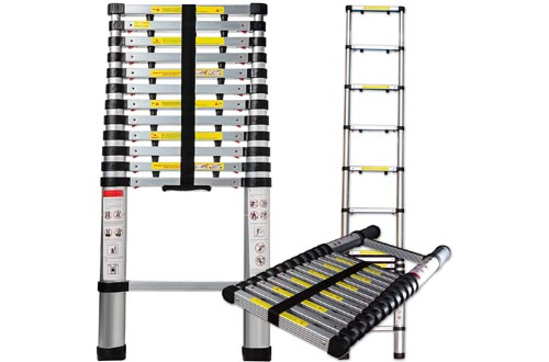 OxGord 12.5 Feet Aluminum Telescopic Extension Ladder