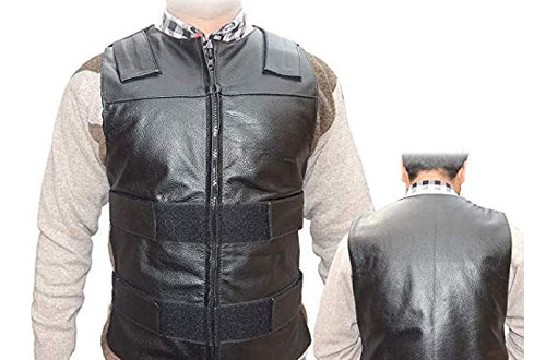 4Fit Men's Black Genuine Leather 10 Pockets Motorcycle Biker Vest