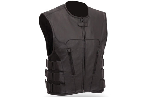 The Nekid Cow Men's Updated SWAT Team Leather Motorcycle Vest