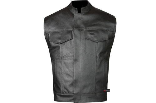 SOA Men's Leather Vest Anarchy Motorcycle Biker