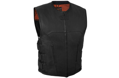 True Element Mens Swat Team Style Leather Motorcycle Vest
