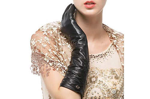 Nappaglo Women's Winter Long Leather Gloves