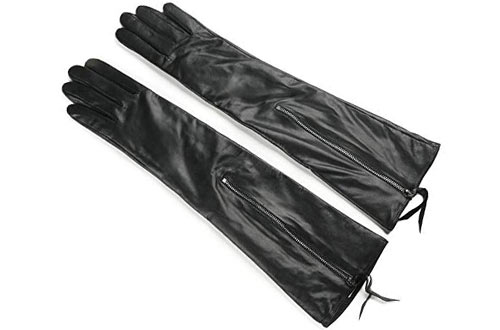 Ambesi Women's Fleece Lined Opera Long Lambskin Leather Winter Gloves