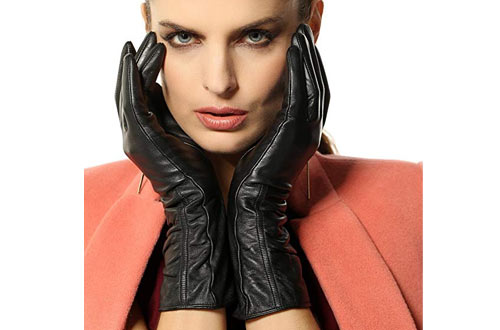 Women's Lambskin Touchscreen Texting Leather Gloves