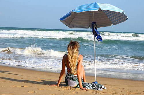 AMMSUN 2017 6ft Two Folded Patio Beach Umbrella