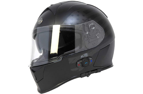 Torc T14B Large Full Face Bluetooth Helmet with Flag Graphic