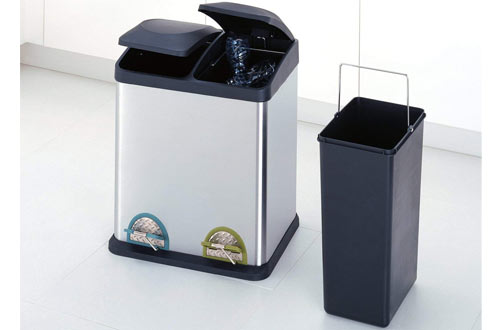 Organize 16-Gallon RecyclingStainless SteelTrash Can