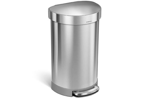 simplehuman 45 Liter / 12 Gallon Stainless Steel Semi-Round Kitchen Step Trash Can