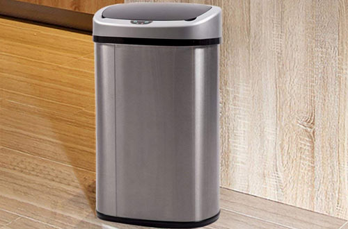 Bathroom Tall Auto 13 Gallon Stainless Steel Garbage Can Metal Trash Bin