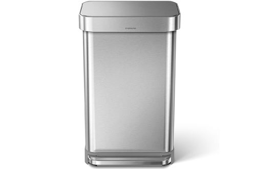 Stainless Steel Rectangular Kitchen Step Trash Can with Liner Pocket