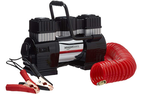AmazonBasics Portable Air Compressor, Dual Battery Clamps with Carrying Case