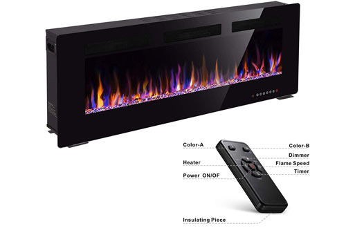 "Xbeauty 50"" Electric Fireplace In-Wall Recessed Wall Mounted 1500W Fireplace Heater"