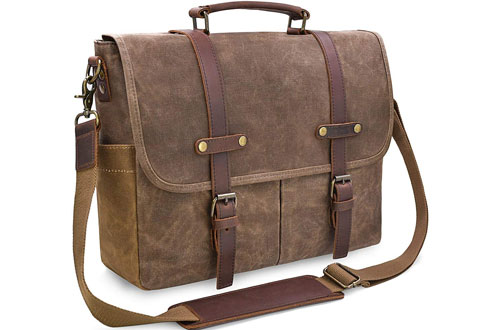 NEWHEY Waterproof Leather Laptop Briefcase Bag for Men