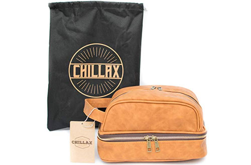 Chillax Men's Leather Toiletry Bag for Travel