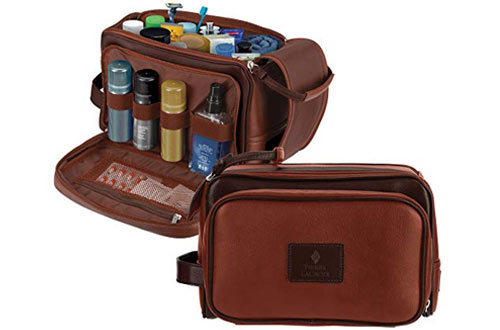 Pierre LaCroix Cruelty-Free Leather Travel Toiletry Bag