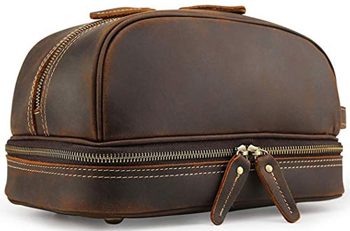 Tiding Brown Leather Toiletry Bag - Tiding Travel Bathroom Shaving Dopp Kits Organizer Bag