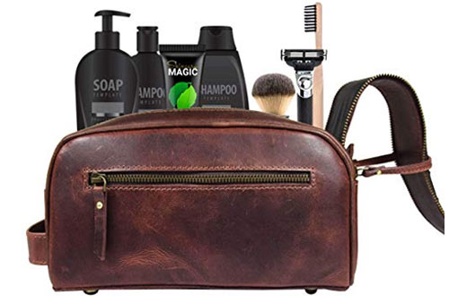 AARON LEATHER GOODS Leather Toiletry Bag & Grooming Travel Kit