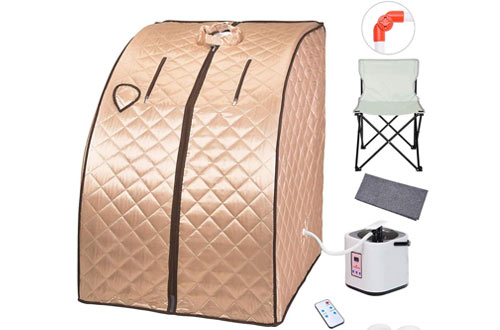 AW 2L Portable Spa Full Body Steam Sauna Tent Slim with Chair Remote