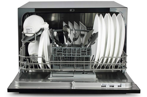 DELLA Portable Compact Countertop Dishwasher with Silverware Basket