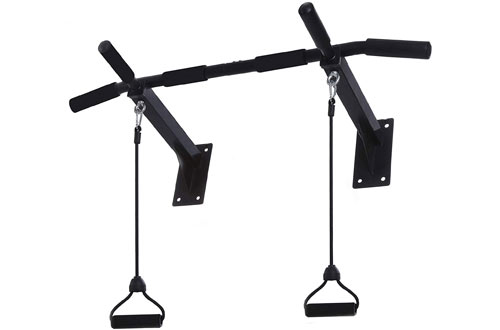 Wall Mounted Pull Up Bar - Upper Body Workout Bar with 4- Grip Positions